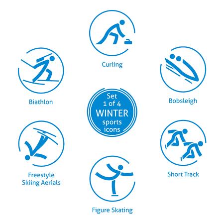 冬のスポーツのアイコンを設定、web、印刷、その他のプロジェクトのための 4、ベクトル絵文字 1。イベントの 6 種  イラスト・ベクター素材