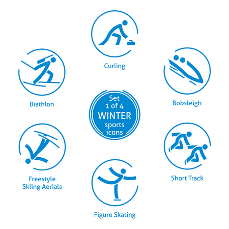 Winter sports icons set, 1 of 4, vector pictograms for web, print and other projects. 6 olympic species of events