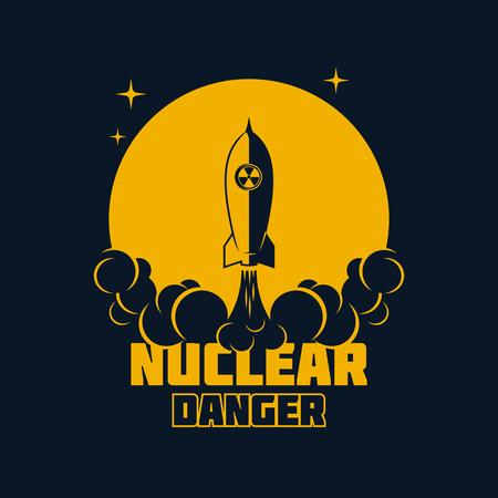 原子力の危険の警告バナー、弾道核ミサイルの発射。ベクトル図