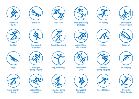 Winter sports icons set, pictograms for web, print and other projects.