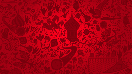 Russian red wallpaper, world of Russia pattern with modern and traditional elements, 2018 background trends, vector illustration