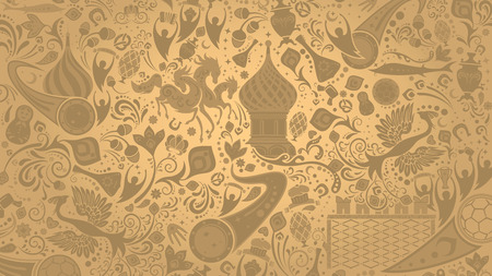 Russian gold wallpaper, world of Russia pattern with modern and traditional elements, 2018 background trends, vector illustration