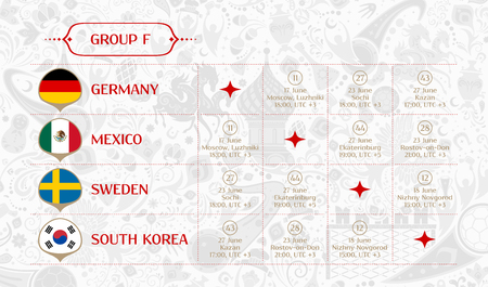 Match schedule group F, 2018 final draw results table, flags of countries participating to the international soccer tournament in Russia, vector illustration Ilustração
