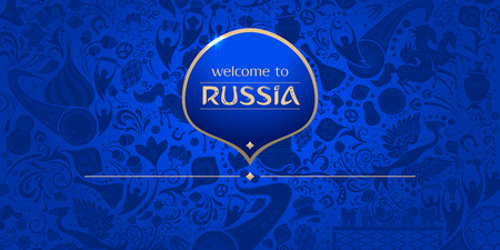 Welcome to Russia, horizontal banner, russian blue background with traditional and modern elements, 2018 trends, vector template