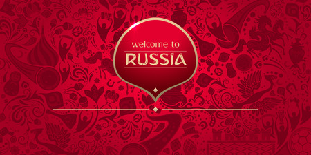 Welcome to Russia, horizontal banner, russian red background with traditional and modern elements, 2018 trends, vector template Çizim