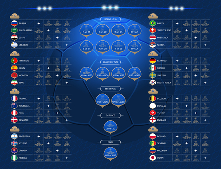 Match schedule, 2018 final draw results table, flags of countries participating to the international soccer tournament in Russia, date, time and location, vector illustration