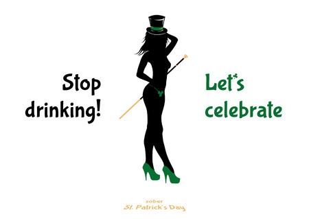 Sober St. Patrick's day - propaganda banner, poster, vector illustration.