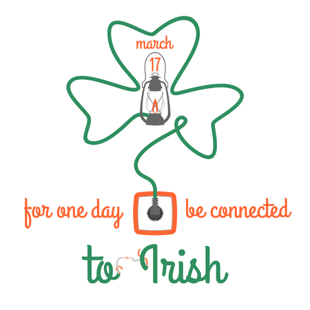 For one day connected to Irish, wires shamrock, electric design, vector illustration. Illustration