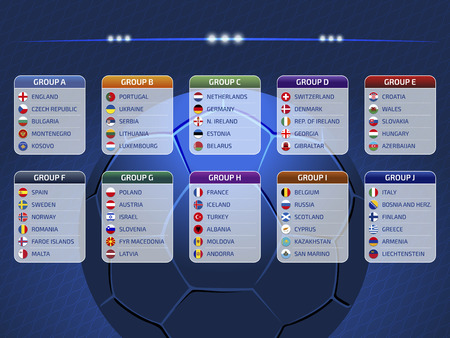 Groupes table, draw results, flags of countries participating to the international tournament in Europe, 2020 qualify, vector illustration