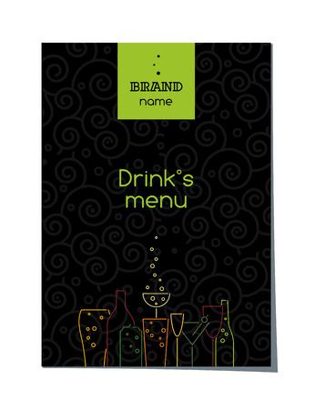 Drinks menu cover design, brochure template, beverage catalog, vector illustration