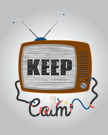 Retro tv with glitch screen, keep calm  quote in funny style, vector illustration