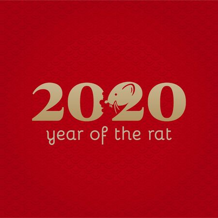 Chinese New Year 2020. Greeting card. Rat, traditional symbol by eastern calendar. Painting calligraphy. Year of the rat. Vector illustration  イラスト・ベクター素材