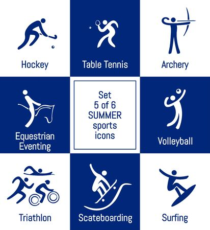 Summer sports icons set, 5 of 6, vector illustration, template for web, print and other projects