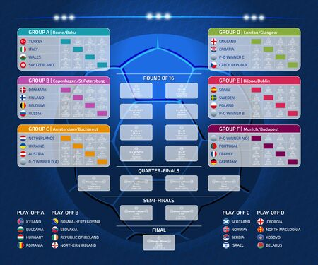 Match schedule, template for web, print, football results table, flags of European countries participating to the final tournament of european football championship 2020, vector illustration