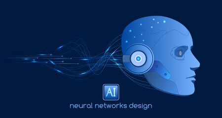 Neural networks design, artificial intelligence concept, digital abstract wave lines, vector template Ilustracja