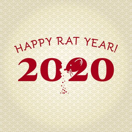 Chinese New Year 2020. Greeting card. Rat, traditional symbol by eastern calendar. Year of the rat. Vector illustration  イラスト・ベクター素材