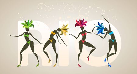 Brazilian carnival banner, silhouettes of four dancing girls, traditional samba festival, vector template Çizim