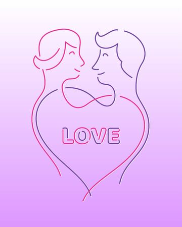 Ð¡ouple in love, Valentines day template, line art wedding concept, vector illustration