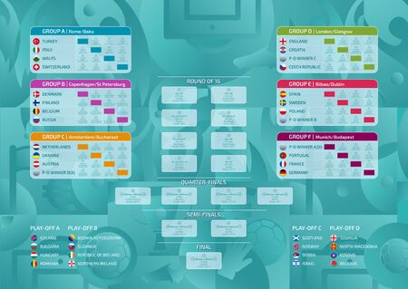 Match schedule, template for web, print, football results table, flags of  European countries participating to the final tournament of european football championship 2020, vector illustration Ilustrace