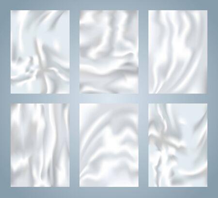 Crumpled plastic texture collection, waving silk background set, realistic 3d foil patterns, vector templates Illustration