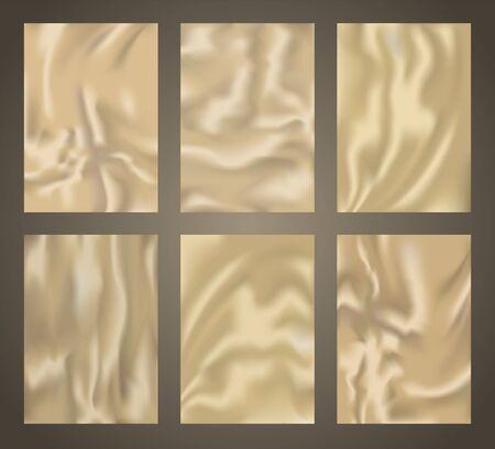 Crumpled plastic texture collection, waving golden silk background set, realistic 3d foil patterns, vector templates Illustration
