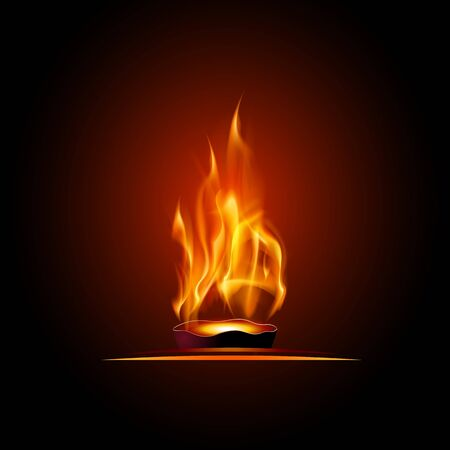 Illustration of burning fire flame on black background, fire cauldron, vector template. Banque d'images - 142443642