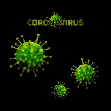 Coronavirus banner, alert against disease spread. Corona virus design, microscopic view background. Vector illustration.