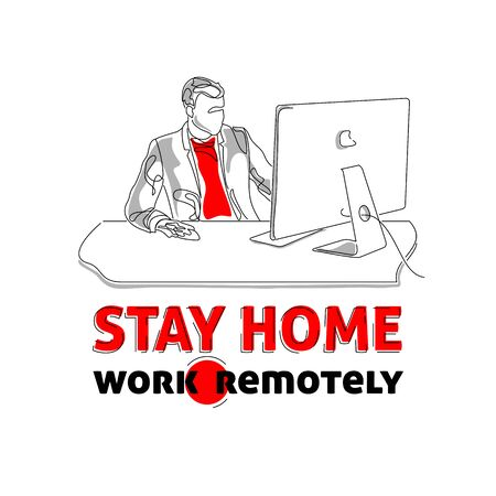 Stay home, work remotely, coronavirus pandemia preventive action banner, outsourcing service concept, vector illustration
