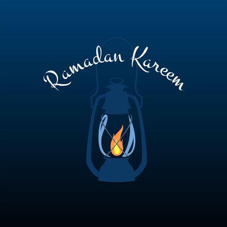 Ramadan Kareem - burning lantern, vector template for holy month of Ramadan. Vectores