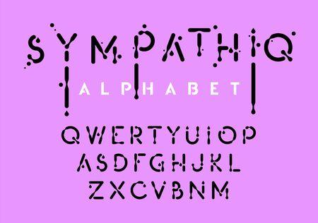 Liquid alphabet, black ink style letter collection, oil effect abc, vector illustration 向量圖像
