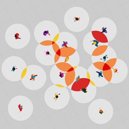 Top view people, safe and dangerous distance to avoid physical contact. Coronavirus covid-19 prevention post. Motivational social banner. Vector illustration. Vectores