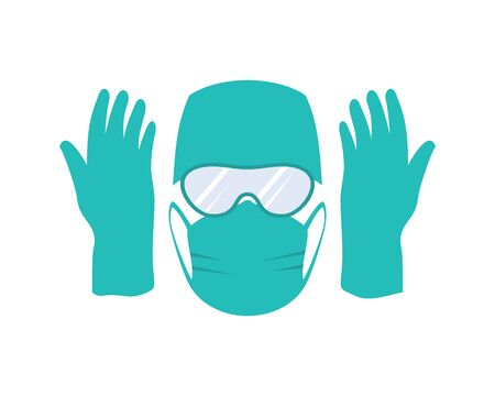 Covid-19 medical protection, personal protective equipment in the hospital, coronavirus vector illustration Vectores