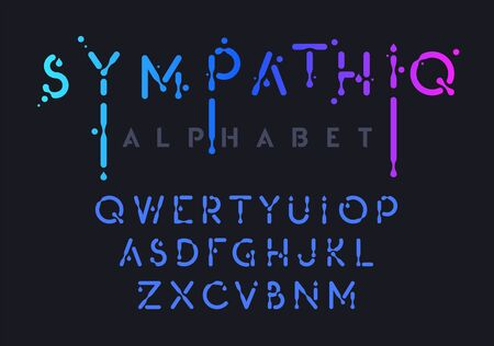 Liquid alphabet, black ink style letter collection, oil effect abc, vector illustration Vectores