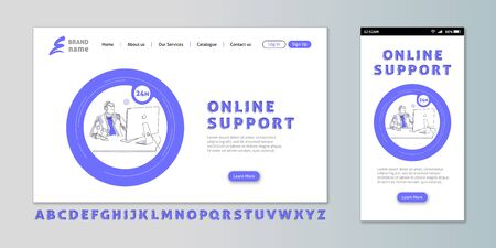 Online support - landing page and mobile app interface design, speaking operator, 24 hour technical assistance service, vector illustration
