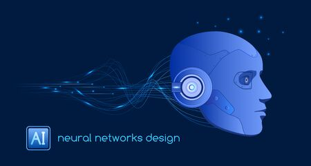 Neural networks design, artificial intelligence concept, digital abstract wave lines, vector template Stock Illustratie