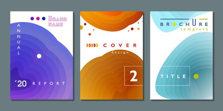 Set of cover design, brochure template collection, elegant gradient fill concepts for annual report, magazine page and other projects, vector illustration Stock Illustratie