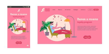 Referral marketing landing page, refer a friend loyalty program, social media promotion. Man at home with smartphone, vector illustration.