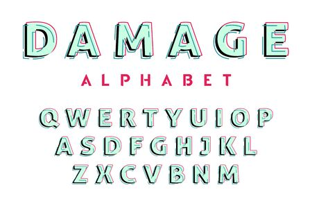 Glitch style alphabet. Vector decorative typography. Letter collection for headline, title, logo and other projects. Linear font.
