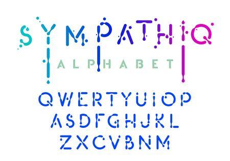 Liquid alphabet, black ink style letter collection, oil effect abc, vector illustration Stock Illustratie