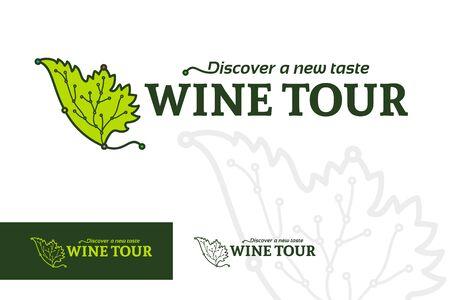 Wine tour logotype, rural tourism emblem, ethno-tourism logo, map point travel destinations on grape leaf line silhouette, vector illustration Stock Illustratie