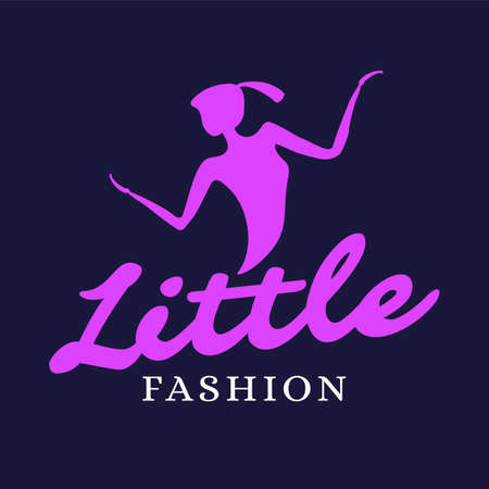 Elegance emblem with young woman, girl fashion logo, clothing brand template, vector illustration Stock Illustratie