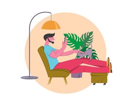 Referral marketing banner, refer a friend loyalty program, social media promotion. Man at home with smartphone, vector illustration. Stock Illustratie