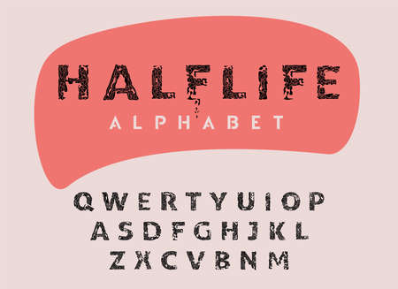 Vector vintage stamp all caps font, half-life style alphabet, letter collection for headline, title, logo and other projects. Stock Illustratie