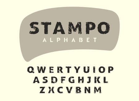 Vector alphabet in retro stamp style, vintage scratch grunge font, brush painted script letters. Original typography for logo, posters, cards and other projects. Stock Illustratie