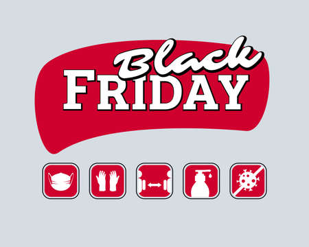 Black friday design with practical tips for the prevention of COVID-19 coronavirus contamination icons Stock Illustratie