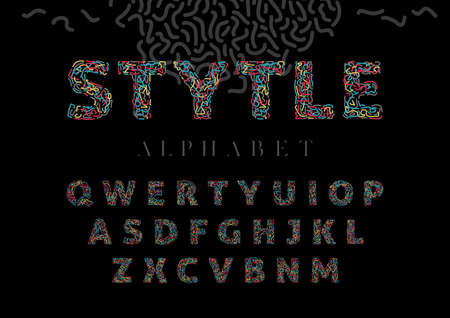 Decorative alphabet style set on black
