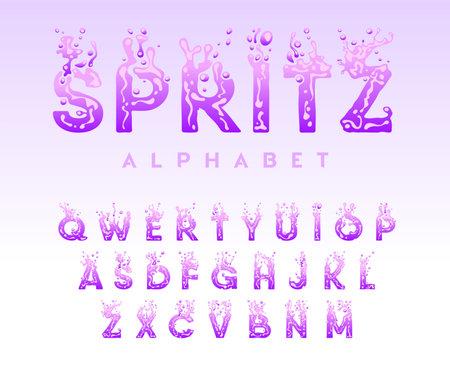 Liquid alphabet - water letters set, creative splash font with drops and bubbles, aqua concept, flowing letter for title, vector illustration