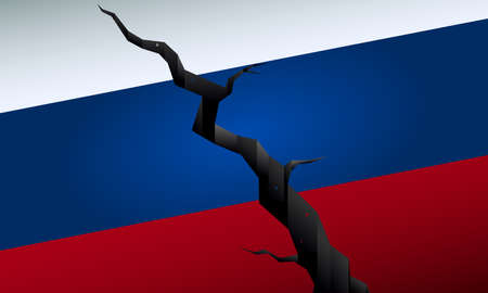 Cracked Russian flag, political crisis in Russia vector illustration