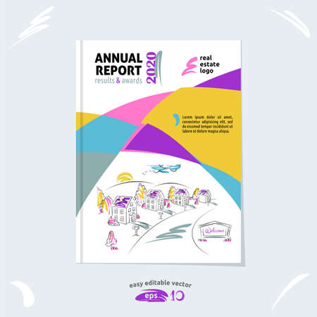 Brochure template, cover design, annual report, magazine layout with hand drawn suburb picture, vector illustration for real estate project Stock Illustratie