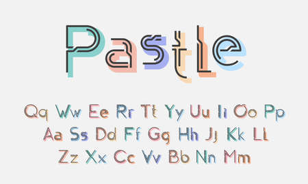 Decorative joy alphabet with pastel shadows. Typography for kids party, business, titles, headlines, presentations, logos & other projects. Vector illustration.